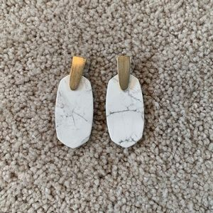 HOWLITE GOLD ARAGON EARRINGS NEW
